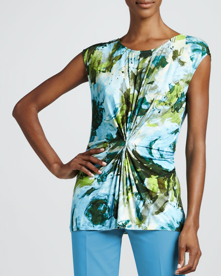 Garden-Print Jersey Gathered Top