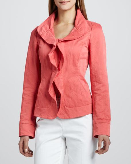 Crinkled Ruffle-Front Jacket
