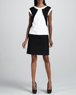 Lafayette 148 New York Colorblock Twill Dress
