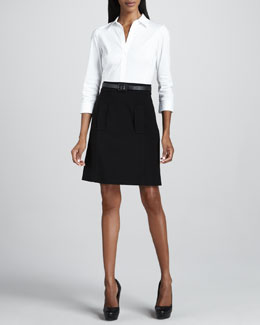 Lafayette 148 New York Belted Combo Dress