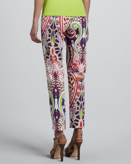 Paisley-Print Cropped Pants