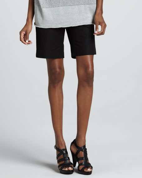 Metro Stretch Twill Bermuda Shorts, Black