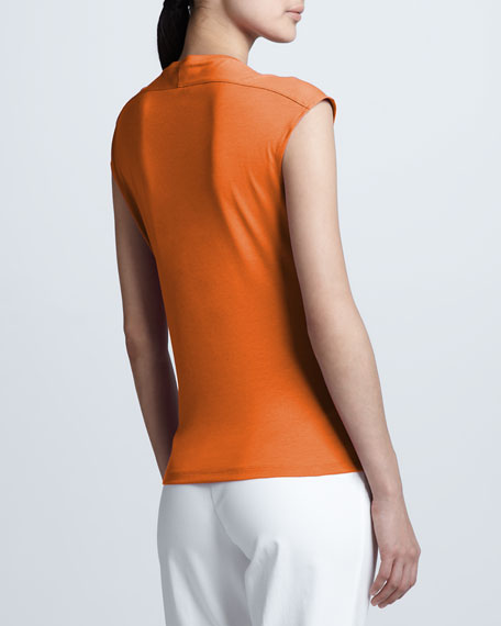 Cap-Sleeve  Back-Collar Top