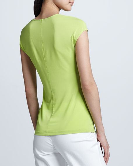 Ruched V-Neck Tee, Appletini