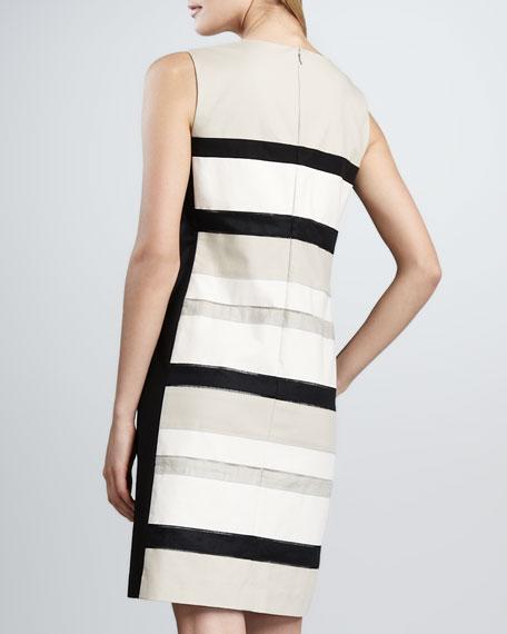 Noel Split-Neck Striped Dress