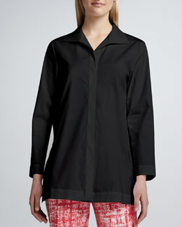 Lafayette 148 New York Marla Placket-Front Blouse, Black