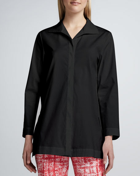 Marla Placket-Front Blouse, Black