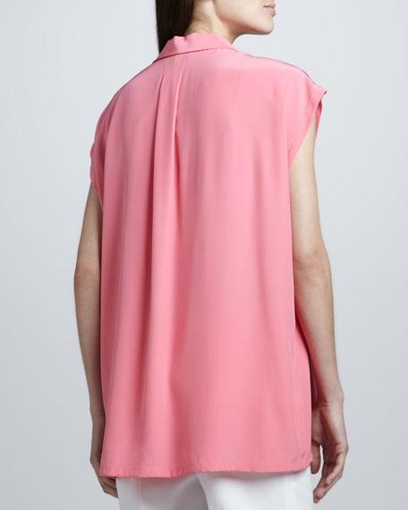 Lea Silk Cap-Sleeve Shirt, Primrose