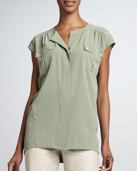 Paulette Silk Pocket Blouse