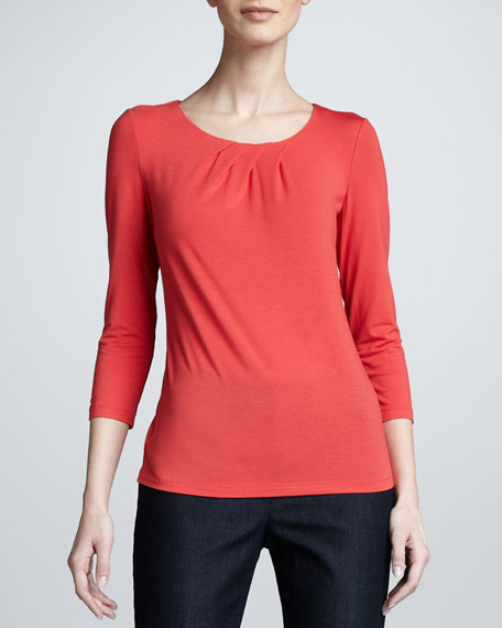 Jersey Pleated-Neck Top