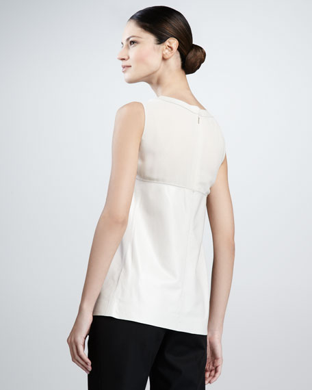Yoked Leather Swing Top, Oyster