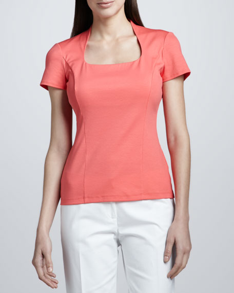 U-Neck Cap-Sleeve Jersey Top