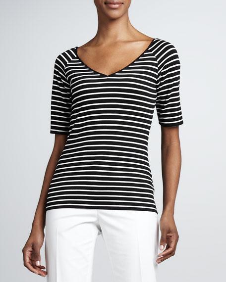 Striped V-Neck Knit