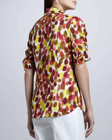 Courtney Ikat-Print Half-Sleeve Shirt