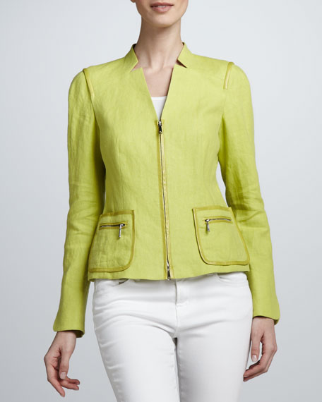 Haley Linen Jacket, Plantain