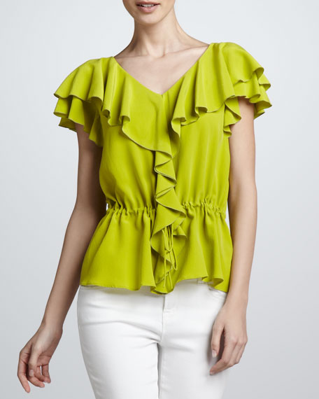Levana Ruffled Silk Top