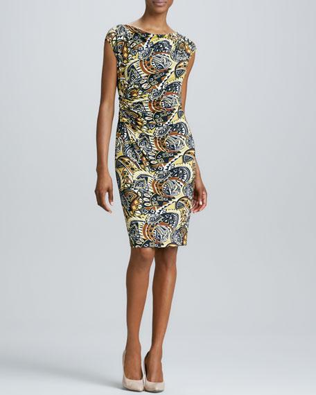 Printed Ruched Sheath Dress