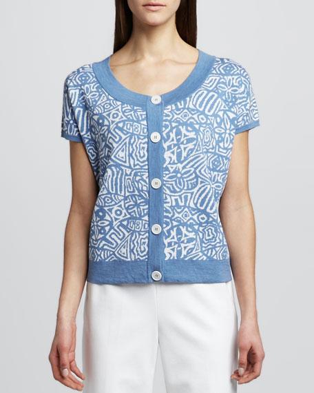 Printed Short-Sleeve Cardigan