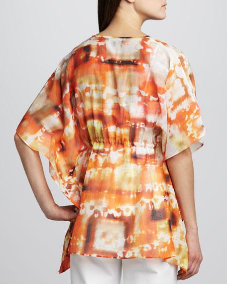 Galia Mandarin-Print Top