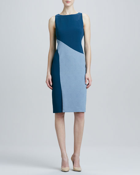 Sleeveless Colorblock Dress, Blue/Gray