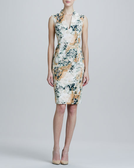 Abstract Printed Sateen Dress