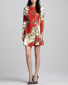 Just Cavalli Paisley-Print Long-Sleeve Dress