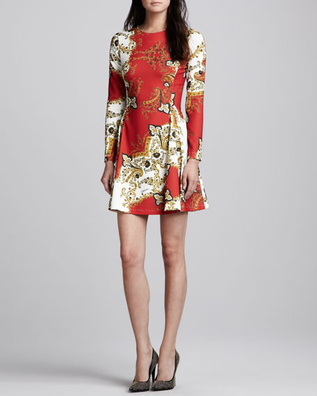 Paisley-Print Long-Sleeve Dress