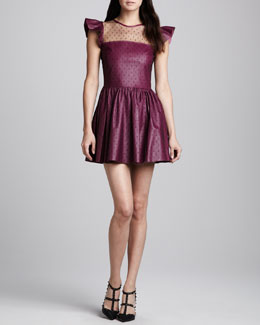 RED Valentino Point d'Esprit & Napa Leather Dress, Raspberry