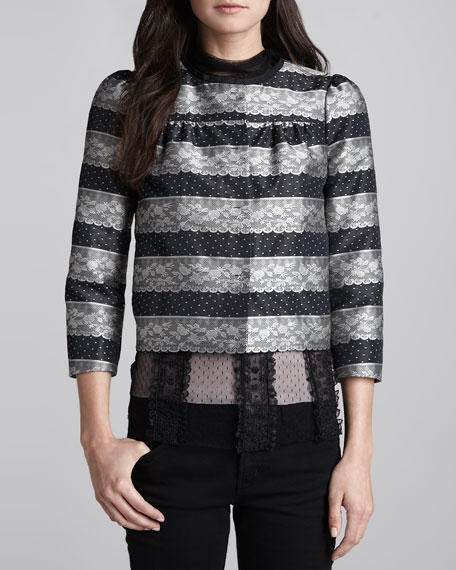 Dot & Lace Jacquard Jacket, Black/Silver