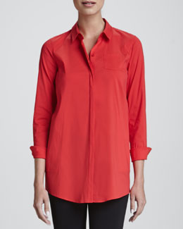 Lafayette 148 New York Leora Stretch-Cotton Blouse