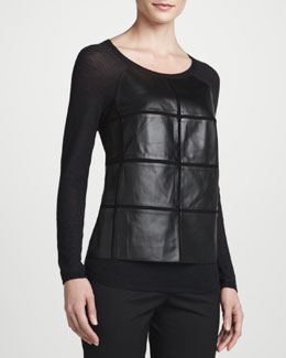 Lafayette 148 New York Leather-Paneled Jersey Top