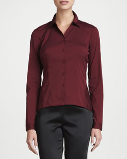 Lafayette 148 New York Mavis Long-Sleeve Stretch Blouse