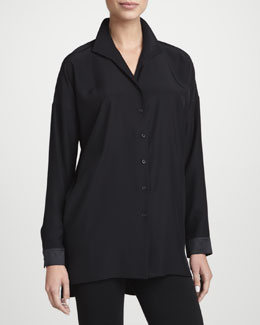 Lafayette 148 New York Selma Silk Button-Front Tunic