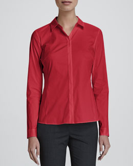 Lafayette 148 New York Olina Long-Sleeve Blouse, Spark