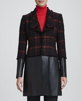 Lafayette 148 New York Cecille Tweed & Leather Coat