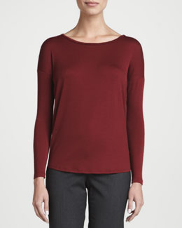 Lafayette 148 New York Light Wool Jersey Long-Sleeve Top