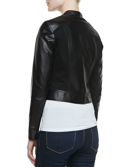 Colorblock Mixed-Media Biker Jacket, Black/Black