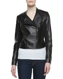 Vakko Colorblock Mixed-Media Biker Jacket, Black/Black
