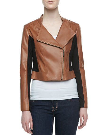 Colorblock Mixed-Media Biker Jacket, Camel/Black