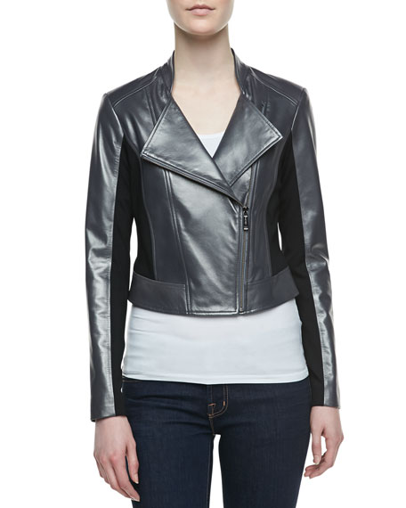 Colorblock Mixed-Media Biker Jacket, Gunmetal/Black