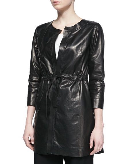 Jonas 3/4-Sleeve Leather Topper Jacket, Black