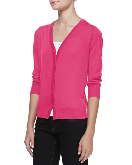 3/4-Sleeve V-Neck Cardigan, Shocking Pink