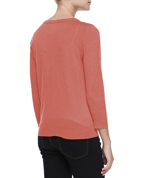 3/4-Sleeve V-Neck Cardigan, Coral Reef