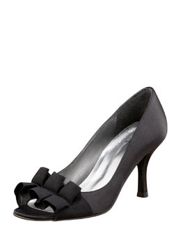 Stuart Weitzman Satin-Bow Evening Pump