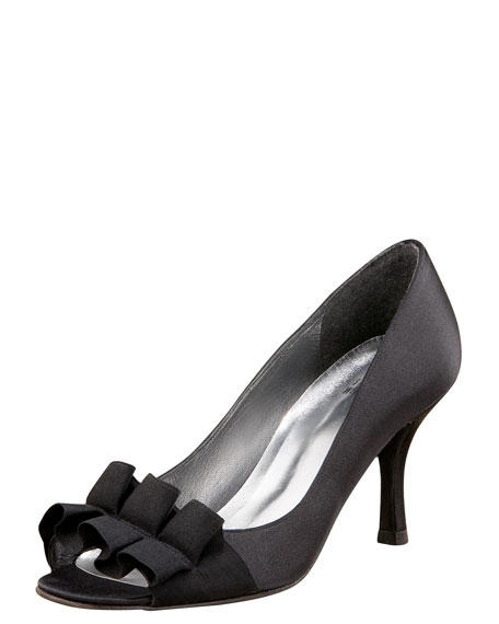 Satin-Bow Evening Pump