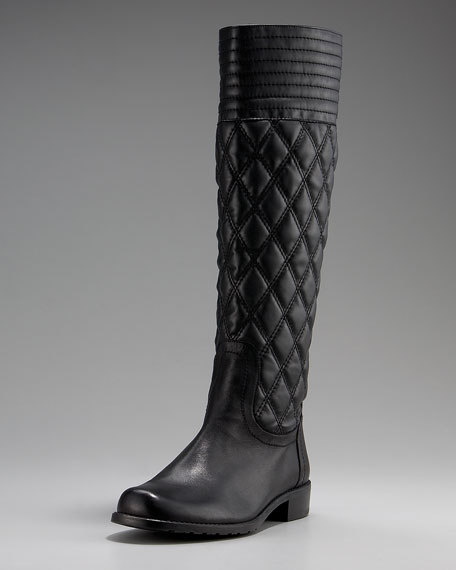 Flat Quilted Leather Knee Boot