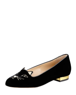 Charlotte Olympia Kitty Cat-Face Velvet Skimmer