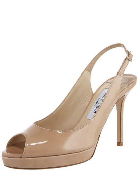Jimmy ChooPeep-Toe Patent Slingback