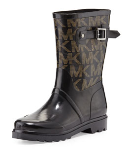MICHAEL Michael Kors  Short Logo Rain Boot, Black