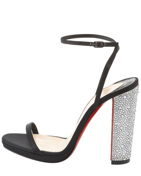 Au Palace Crystal-Heel Satin Red Sole Sandal